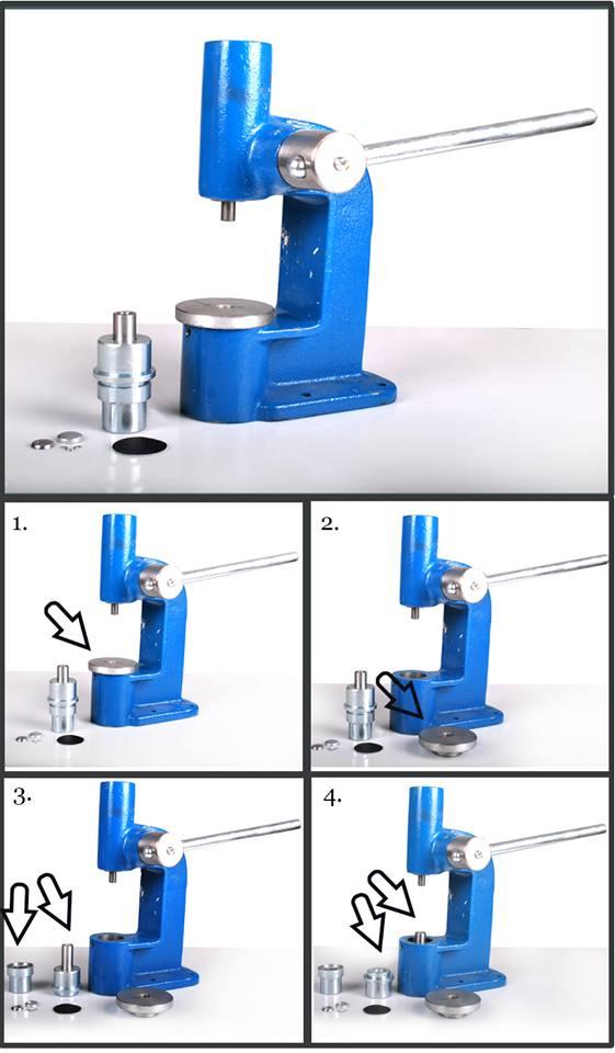 Machine /à boutons pour recouvrir des boutons avec du tissu et cuir fin